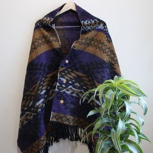 Sweaters - Purple and Brown Women's Button Poncho with Fringe